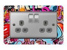 Double Light Switch / Socket Surround Acrylic Finger Plate Graffiti Hip Hop Dsr5