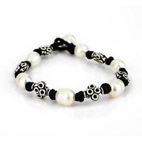 Pulsera Mujer De Cordón Negro y Plata de Ley 925 Con Perlas Cultivadas