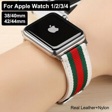 Genuine Leather + Nylon Band Strap Watch Band For Apple Watch 6 5 4 3 2 Rainbow