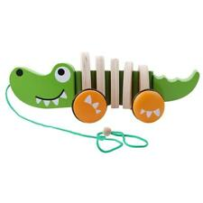 Children Animal Crocodile Dog Crooked Wooden Pull A Car Kids Toys Christmas - S