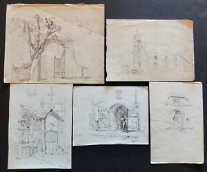 5 John Wesley Cotton Signed Architectural Drawings Church, Doorways And Gates