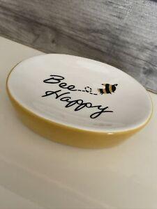 "🐝 ""Bee Happy"" Yellow Soap/Trinket/Coin Dish Ceramic Bumblebee Home Decor Gift"