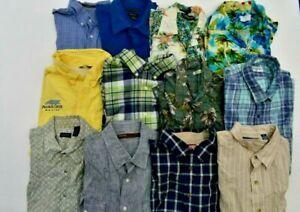 Wholesale Bulk Lot Of 12 Mens XL 17.5 Short Sleeve Mix Button Up/Down Dress Tops