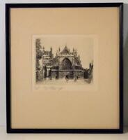 "EDWARD J CHERRY ""Exeter CathedraL"" Original Etching- Signed Artist's Proof"