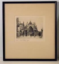 """EDWARD J CHERRY """"Exeter CathedraL"""" Original Etching- Signed Artist's Proof"""
