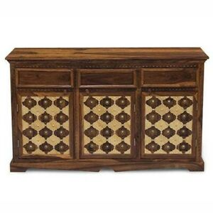 MADE TO ORDER Mogra Antique Brass Work Solid Wood Brass Sideboard A 140x40x80