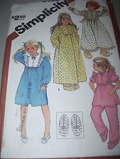 SIMPLICITY #6135 - GIRLS QUILTED ROBE - NIGHTGOWN - PAJAMAS & SLIPPERS PATTERN 5