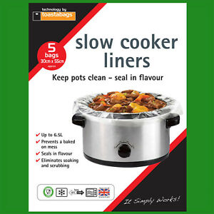 20x Slow Cooker Liners, Transparent, No Mess On Pots Bags, Oval Slow Cookers