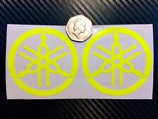 2x YAMAHA Fluorescent yellow SAFETY Motorcycle Helmet Stickers Hi Viz MT10 TT