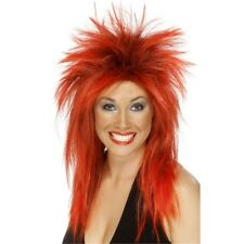 Long Red Ladies 80s Mullet Rock Diva Wig - Fancy Dress Punk Black Costume