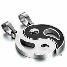 Couple Stainless Steel Yin Yang Tai Chi Bagua Pendant Necklace Black Silver