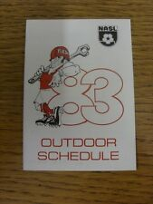 1983 Fixture Card: Soccer - Tulsa Roughnecks (single fold style). Any faults wit