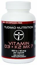 Vitamin D3 K2 MK-7 Complex Heart Bones Blood Circular Support 400 IU/80 mcg-200