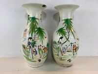 Antique Chinese Qing Dynasty Porcelain Hand Painted Pair of Large Vases