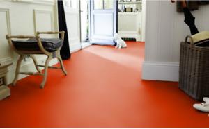 PVC Bodenbelag in Uni-Farbe, rot   4 m x 1,30 m   Rest - P-2619