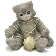Calico Kittens Enesco #112429 Kitten In Yarn 1994 Hillman Cat Figurine B6