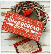 Hanging sign Winter Christmas Mrs Claus Gingerbread Bakery red wood effect