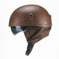 Dark Brown Harley Motorcycle PU Leather Helmet Open Face Fit For M/L/XL 56-61cm