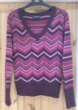 Dorothy Perkin Size 12 Pink Purple Striped Zig Zag Jumper Top !!
