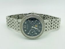 Bulova 96W210 Diamond Gallery Date and Moon Phase Black Dial Ladies' Watch (77A)