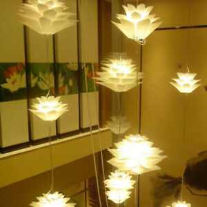 Lotus Chandelier Pendant Ceiling Lamp Shades Hanging Lights Lampshade White