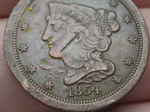 1854 Braided Hair Half Cent- Fine/VF Details
