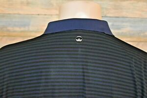 PETER MILLAR CROWN CRAFTED XL Men's S/S Poly Spandex Golf Polo Shirt Blue Stripe