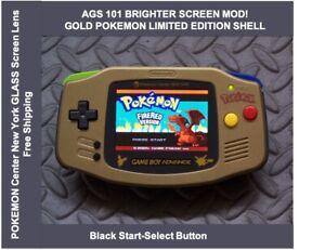 Game Boy Advance GOLD POKEMON LE System AGS101 Backlit Mod-Glass Screen /BLK SS