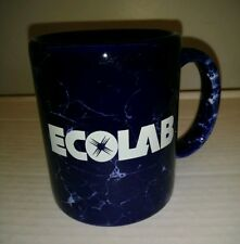 Vtg Ecolab Advertising Coffee Mug Marbled Cobalt Blue Eagle Made In Usa Rare