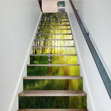 DIY 13PCS Sunshine White Birch Forest Stair Riser Sticker PVC Waterproof Mural