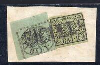 ANTICHI STATI 1852 STATO PONTIFICIO 1+2 BAJ FICULLE P/10 D/3074