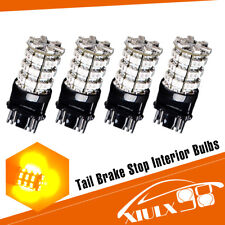 4x 3157 3156 60SMD Amber/Yellow LED Light Bulbs Tail Brake Stop 12V 4300K 3528