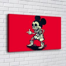 Red Cartoon Skull Skeleton Home Decor HD Canva Print Picture Wall Art Painting
