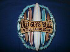 "OLD GUYS RULE  ""STILL LOGGED IN "" SURF SURFBOARD LONGBOARD FIN BEACH S/S  SIZE M"
