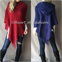 Women's Boho Embossed Knit Fringe Detail Hooded Poncho Fall Tunic Top Jacket
