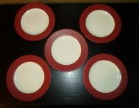 "(5) Noritake COLORWAVE RASBERRY 8 3/8"" Salad Plates"