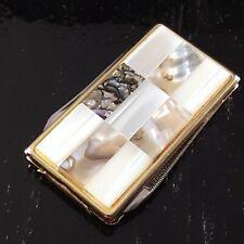 ABALONE MONEY CLIP KNIFE MADE IN JAPAN BEAUTIFUL FILE VINTAGE FOLDING POCKET