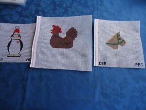 Needlepoint Christmas Ornaments by Pat Lot of 3 Handpainted
