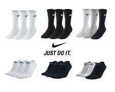 Nike 3 ppk Pair Mens Womens Unisex Cotton Crew Ankle Sports Socks Size UK 2-14