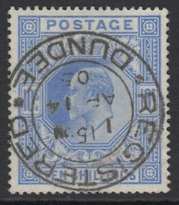 SG 265 10/- ultramarine. Very fine used with a Dundee registered CDS