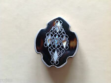 Vintage Tortoise Shell Pin Brooch  Mexican Sterling Silver Inlay-Signed