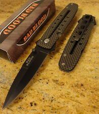 Bad Blood Knives Carbon Fiber Print Handle Black Dagger Folding Pocket Knife New