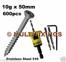 600pcs - 10g x 50mm Stainless Steel 316 Decking Screws + Macsim Clever Tool