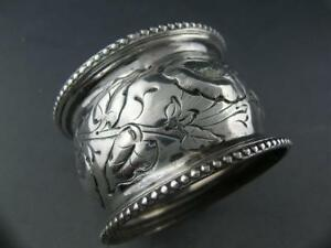 GREAT Early Coin Silver NAPKIN RING chased w/ floral leaf & vine patterns c1800s