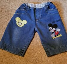 Mickey mouse unisex embroidered shorts cuff up or down size 110 elastic waist fr