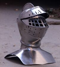 16 Guage Steel Medieval Combat Close Helmet Bettlefield Knight Helmet W Gorget