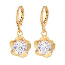 Fashion Women Brilliant Clear Round Cubic Zirconia CZ Flower Earrings Jewelry