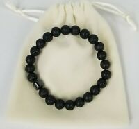 Natural Black Lava Gemstone 8mm Stretch Beaded Bracelet with Magnetic Hematite