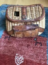 Vintage Wicker & Leather Fishing Creel V. Good Condition w/Wood Bobbers