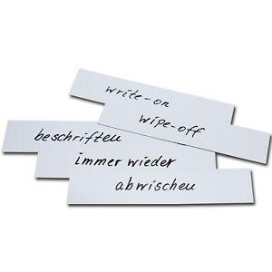 200mm x 50mm WHITE Magnetic Labels Warehouse Whiteboard Shelf Racking (10pk)